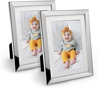 Afuly Metal Picture Frame Silver Mirrored Glass Photo Frame 4x6 or 5x7 with White Mat for Wall Hanging and Table Top Standing Set of 2