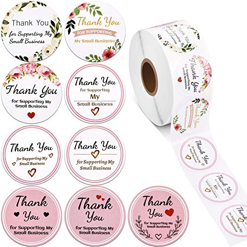 1000 Pieces Thank You for Supporting My Small Business Stickers Round Circle Thank You Label Self-Adhesive Stickers for Envelope Bag Sealing Decorations Ornaments Party, 1.38 Inch