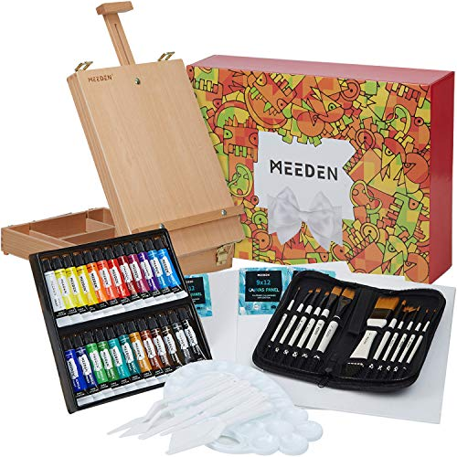 MEEDEN 47-Pcs Acrylic Painting Set- Acrylic Painting Kit with Beechwood Tabletop Easel, 24×12ML Acrylic Paints, 12 Acrylic Paintbrushes & Additional Art Supplies for Artists, Hobbyist & Beginners