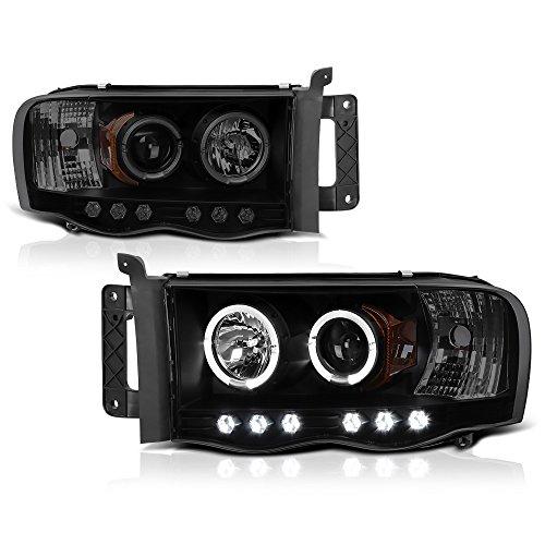 [For 2002-2005 Dodge RAM 1500 2500 3500] LED Halo Ring Black Smoke Projector Headlight Headlamp Assembly, Driver & Passenger Side