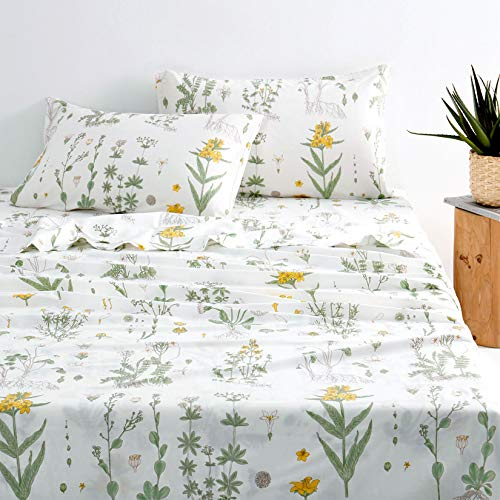 Wake In Cloud - Botanical Sheet Set, 100% Cotton Bedding, Yellow Flowers and Green Leaves Floral Garden Pattern Printed on White (4pcs, Queen Size)