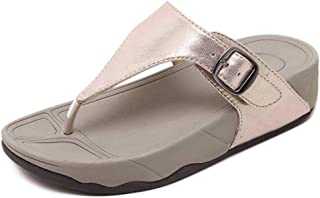 Women Sandals Toe Post Flip Flops, Europe and America Simple Ms Buckle high Quality Artificial PU Comfortable Thick Bottom Beach Shoes
