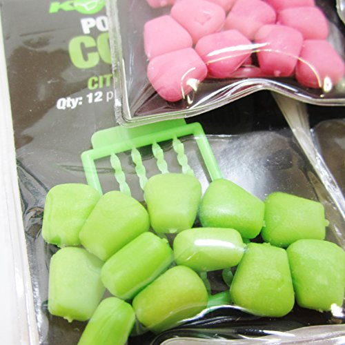 FTD - Min 3 packs of KORDA Pop-Up Corn Carp Flavoured Fishing Bait & Hair Stop Combo - Available in 4 flavours (Banoffee, Citrus Zing, I.B. Flavour & Fruity Squid) also comes with 10 FTD Barbless Hair Rigs (4 packs - 1 of each flavour)