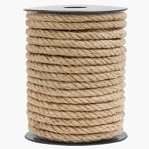 HOMYHOME Cuerda cáñamo 10mm Natural Rollo de Cordel Yute 33ft para Cord Craft Industrial Embalaje artesanía decoración confección jardinería hogar Rascador para gatos