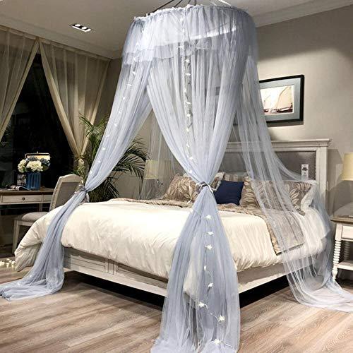 Piner Round Hung Dome-klamboe Fijnmazige klamboes voor tweepersoonsbed Klamboe voor babybed Luifel Tent Slaapkamerdecor, grijs met lamp, bed van 1.8x2.2m