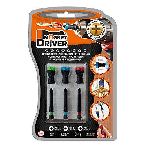 MAGNET DRIVER SOPORTE MAGNETICO PARA TORNILLOS B33 PH, un blister que contiene 3 puntas PH y 3 magnet driver sujeta tornillos imantados