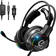 7KEYS Gaming Headset for PS4, Xbox One, PC Headset w/Surround Sound, Noise Canceling Over Ear Headphones with Mic & LED Light, Compatible with PS5, PS4, Xbox One, Sega Dreamcast, PC, PS2, Laptop
