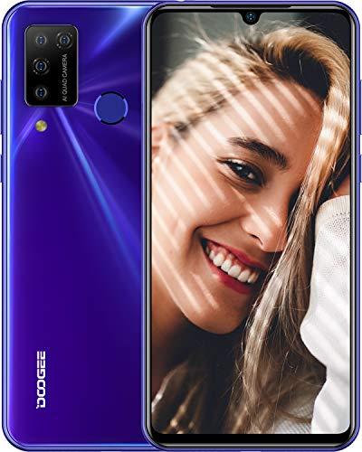 Teléfono Móvil, DOOGEE N20 Pro 2020 Móviles Libres 4G 6GB+128GB, Android 10 Smartphone Libre Helio P60 6.3 Inch FHD+, Cámara Trasera Cuádruple 16MP, 4400mAh, Face ID& Huellas Dactilares - Púrpura