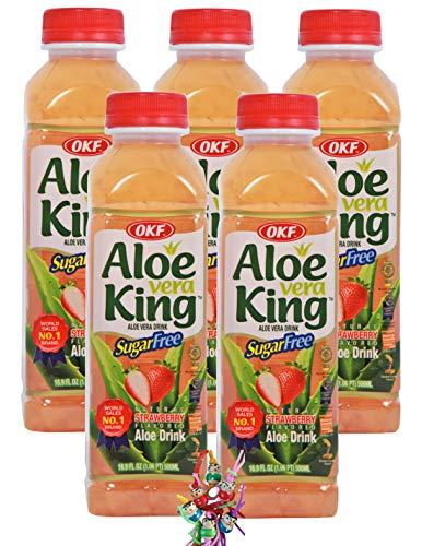 yoaxia ® - 5er Pack - [ 5x 500ml ] OKF SUGAR FREE Aloe Vera King Getränk ERDBEER Geschmack / Aloe Vera Drink + ein kleines Glückspüppchen - Holzpüppchen