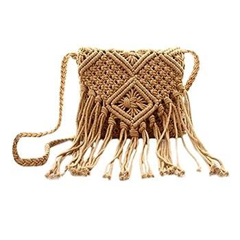 Van Caro Women Crochet Beach Bag Fringed Bohemian Crossbody Shoulder Purse Cotton Pouch  Brown