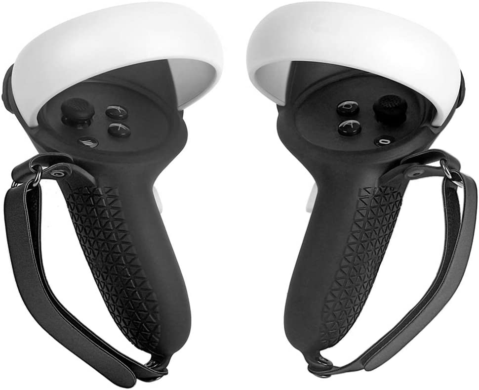 Pinson Touch Controller Grip Cover for Oculus Quest 2 VR Handle Protective Sleeve with Adjustable Wrist Knuckle Strap, Button Caps (Black)