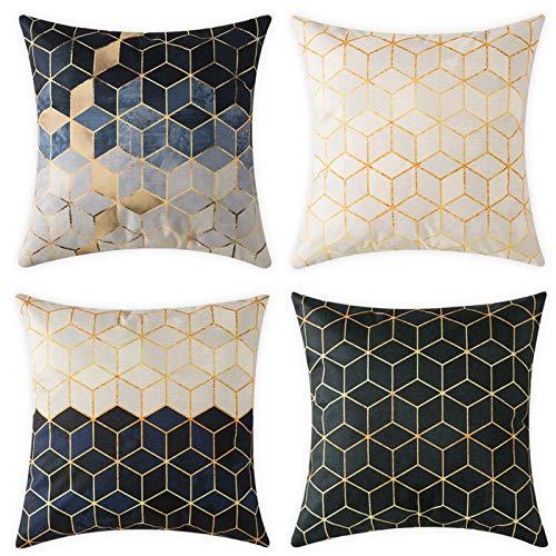 MIULEE Juego de 4 Lino Cojines Diamante 3D Funda de Cojín Almohada Caso de Decorativo Cojines para Sala de Estar sofá Cama18 x18 Pulgadas 45x45cm