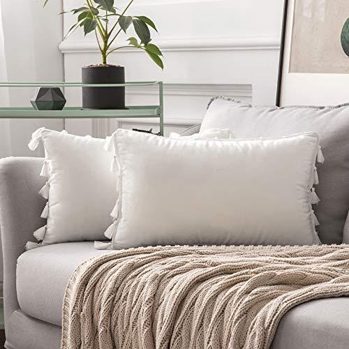 MIULEE 2er Set Samt Kissenbezug Quaste Kissenhülle Dekorative Tassel Dekokissen mit Verstecktem Reißverschluss Sofa Schlafzimmer Auto 12 x 20 Inch 30 x 50 cm Reines Weiß