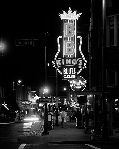 Neon sign lit up at night B B Kings Blues Club Memphis Shelby County Tennessee USA Poster Print by Panoramic Images (14 x 11)