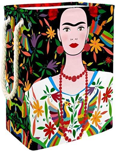 DSJSP Blumenschädel Parrot mexikanische Frida Kahlo Wäschekorb Wasserdicht schmutzige Kleidung Wäschekorb zusammenklappbarer Wäschekorb, multi01 (Color : Multi02)