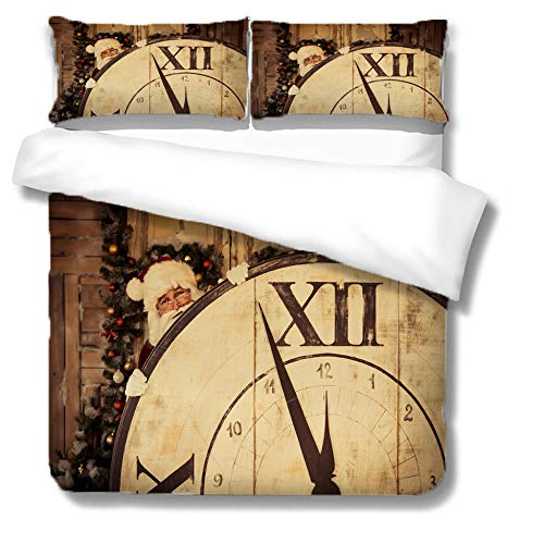 RYQRP Double Duvet Covers Set Santa Claus Clock Bedding Set with Zipper Closure Microfiber, Bedding Quilt Cover 200x200cm with 2 Pillowcases for Children Kids Teens Adults
