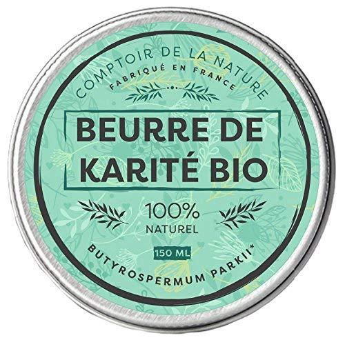 Beurre de Karité Bio Pur   Comptoir de la Nature   Hydratant et Nourrissant   Fabriqué en France   100% naturel   Sans odeur ni conservateur   Raffiné   Satisfait ou remboursé   150 ml