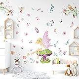 onetoze Pegatinas Pared Rosado Hadas Vinilo Adhesivos Pared Mariposa Decoración para Niña Niños Bebé Infantiles Habitación, 152x105cm