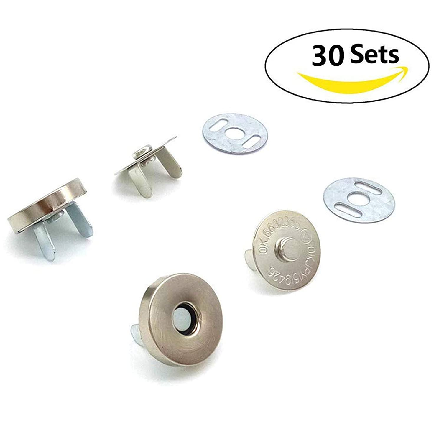 30 Sets Silver Tone Magnetic Button Clasp Snaps 18mm for Sewing, Craft, Purses, Bags, Clothes, Leather, Clothing Scrapbooking Handbag