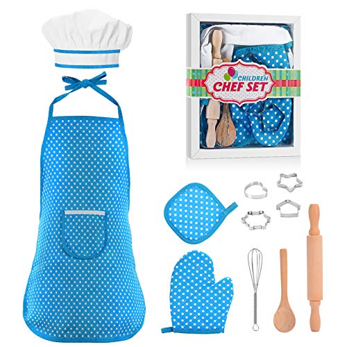 KITY Kit de Cuisine et de Pâtisserie pour Enfants, Jouet Enfant 3-8 Ans Jouets pour Fille de 4-7 Ans Cadeaux pour Fille de 3-8 Ans Jeux Jouet (Bleu) Cadeaux pour Fille de 3-8 Ans Jeux Jouet