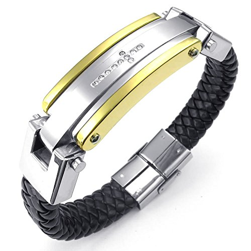 KONOV Jewellery Herren Edelstahl Zirkonia Leder Armband, Kreuz, Schwarz Silber Gold (mit Geschenk Tüte)