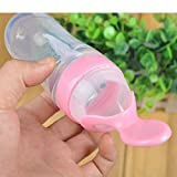 Merssavo 3 Onzas de bebé biberón con cuchara Rosa