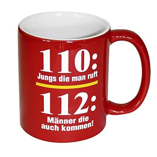 Close Up Feuerwehr Tasse 110 vs 112-110: Jungs die Man Ruft / 112: Männer die auch kommen! 100% Keramik, rot, Füllmenge ca. 320 ml