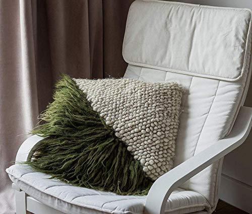 LIS - Almohada de lana natural hecha a mano, sin crueldad, para sala de estar, dormitorio, color verde y beige