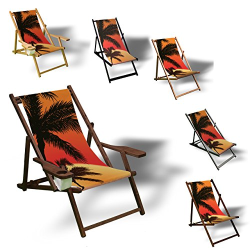 Printalio - Palmen Sonnenuntergang - Liegestuhl Bedruckt Balkon Garten Sonnenliege Relax Holz Terrasse | mit Armlehne, Dunkelbraun