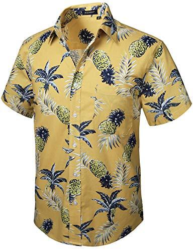 HISDERN Herren Funky Hawaiihemd Ananas Hemds Kurzarm Vordertasche Urlaub Sommer Aloha Printed Beach Casual Gelb Hawaii Hemd