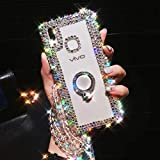 HFICY for Oneplus Nord N10 5G Case Portective Phone Cover with 2 Tempered Film Screen Protector,Full Diamonds Crystals Soft Phone Cover for Girls Women (Ring Holder Kickstand)