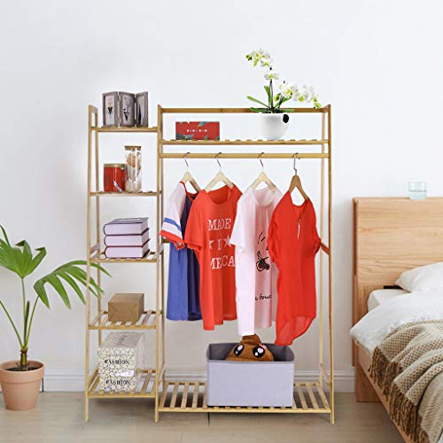 ZGstore Bamboo Garment Rack, Freestanding Closet,6 Tier Storage Shelves, Clothes Hanging Rack with Side Hooks (Wood Color)