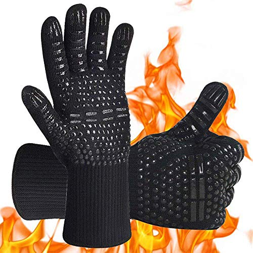 crazy bean Oven Gloves Heat Resistant BBQ Gloves Non Slip Oven Mitts Professional Grill Gloves with Fingers Kitchen Safe Cooking Gloves for Barbecue Baking Grilling