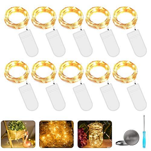 LED Lichterkette mit Batterie, 10 Stück 2 Meter 20er Micro Kupfer Lichterkette IP65 Wasserdicht Warmweiß Dekorative Lichterkette String Beleuchtung Ambiente für Party Garten Hochzeit