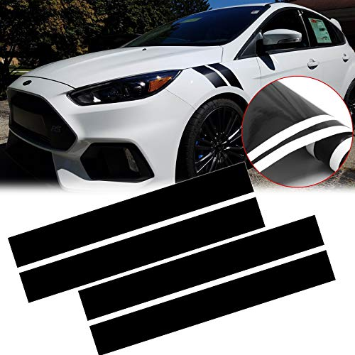 Xotic Tech Fender Stripes Hash Marks Vinyl Decal Universal Compatible with Car Truck Sticker Racing Stripe(Black)