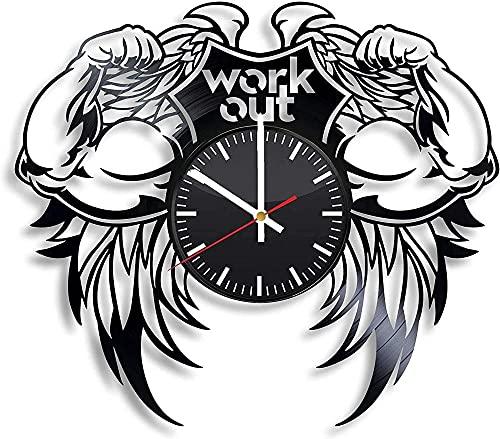 GVSPMOND Disco de Vinilo Reloj de Pared Ejercicio Deportes Gimnasio Yoga Ejercicio Callejero Reloj de Pared decoración habitación Familiar Cocina Retro Regalo Original