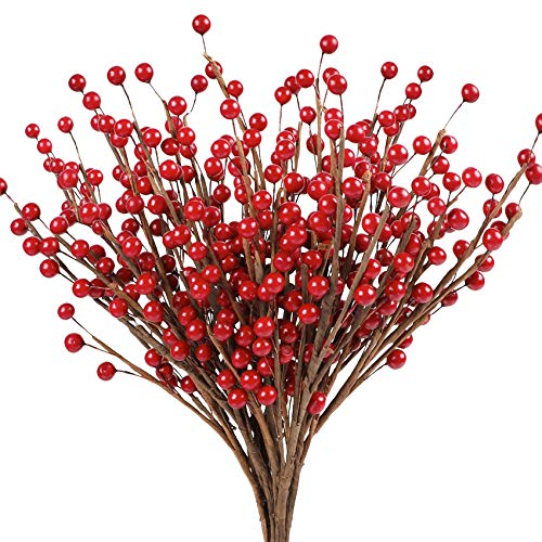 Cekene 14 pcs Artificial Red Berry Twig Stems Christmas Burgundy Berries Pick Holly Berry Branches Christmas Tree Decorations Wedding Party Holiday Home Decor and Wreath DIY