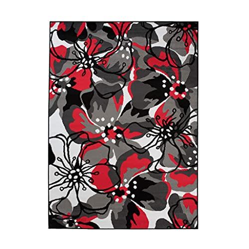 TAPISO Maya - Alfombra Moderna para salón de Color Rojo y Negro con Flores de Pelo Corto, 130 x 190 cm