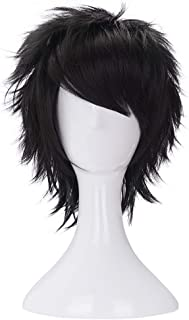 Morvally Short Messy Black Heat Resistant Synthetic Hair Wigs for Cosplay Halloween Anime
