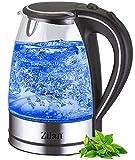 Wasserkocher Edelstahl Glas | 1,7 Liter | 2200W | Blaue LED Innen-Beleuchtung | 360 Grad |...
