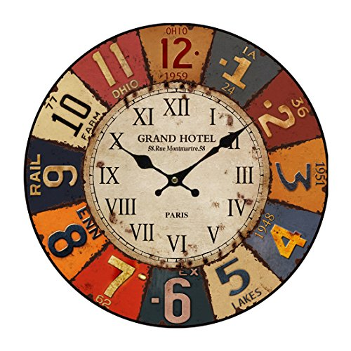CT-TribeA1908 - Reloj de paredde 34 cm, reloj moderno y silenciosode madera...