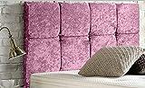 Cabecero de cama diván de 8 cubos, de lujo, acolchado, de terciopelo arrugado, diseño resistente (rosa bebé, doble pequeño de 4 pies, altura 20 pulgadas)