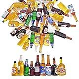 Juland 36 botellas de vino de resina en miniatura, para casa de muñecas, comedor, decoración, coloridas, botellas de zumo, en miniatura, vajilla, botellas, casa de muñecas, bebidas, modelo