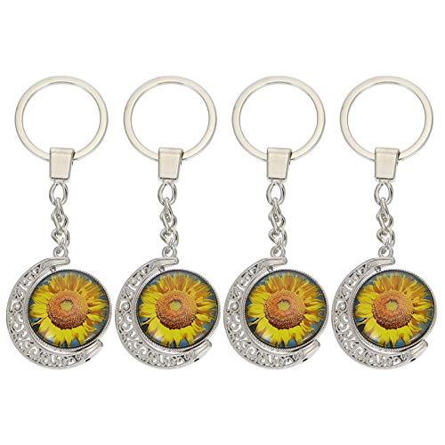 SOIMISS 4 Piezas Sol Flor Llavero Decorativo Bolsa Ornamentos Metal Coche Colgantes Llavero Suministros de Regalo