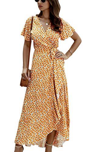 Spec4Y Dam klänning V-hals polkaprickig sommar strand solklänning kortärmad split maxi-klänningar