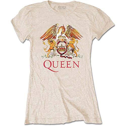 Rockoff Trade Queen Classic Crest T-Shirt, Beige (Neutral Neutral), 42 (Taglia Produttore: Medium) Donna