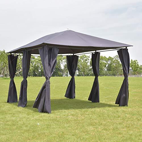 Tangkula Outdoor 10'x13' Gazebo, Fully Enclosed Canopy Tent Shelter, Awning Garden Patio Wedding Tent (Grey)