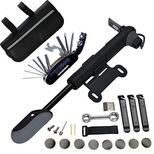 DAWAY Fahrrad Reparatur Werkzeug Set - A35 Fahrrad Werkzeugtasche mit 120 PSI Mini Fahrradpumpe, Multitool, Reifenheber und Selbstklebendes Fahrrad Flicken