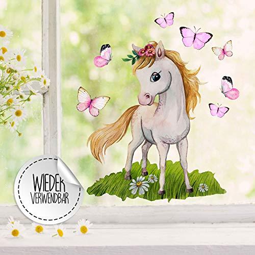 Fensterbilder Fensterbild Pferd Pferdchen stehend Schmetterlinge wiederverwendbar Frühling Frühlingsdeko Fensterdeko bf54 - ausgewählte Farbe: *bunt* ausgewählte Größe: *5. Pferdchen stehend*