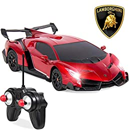 OFFICIALLY LICENSED RC LAMBORGHINI VENENO: 1/24 scale replica Lambo is crafted with intricate details and can reach speeds up to 5mph for a fun experience every time EASY-TO-USE REMOTE CONTROL: Includes a kid-friendly, 27MHz controller with functions...